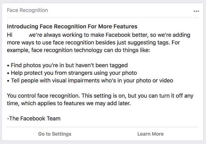 Facebook正式部署照片面部识别功能