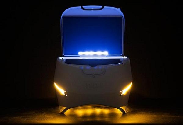 专门为户外活动爱好者设计的便携式太阳能智能冰箱.图片