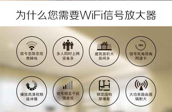 导论:在现在这个信息时代,几乎每家每户都安装了电脑。不过现在随着科学技术的发展,电脑显得笨拙庞大,人人越来越喜爱用手,小巧方便。进而家里开始安装WIFI,人人都喜欢无畅阻地上网,一款WIFI信号放大器也就应运而生了。  创维WIFI信号放大器 你还在因为信号忽隐忽现常掉线,、建筑面积大房间多、多人同时上网设备多、信号死角弱角网速卡、播放高清视频缓冲慢、信号互相干扰强度低、钢混结构穿墙差、大功率路由器辐射大等原因而烦恼吗?  WIFI信号不好  创维WIFI信号放大器外观 通畅WIFI信号穿墙后,都会产生一