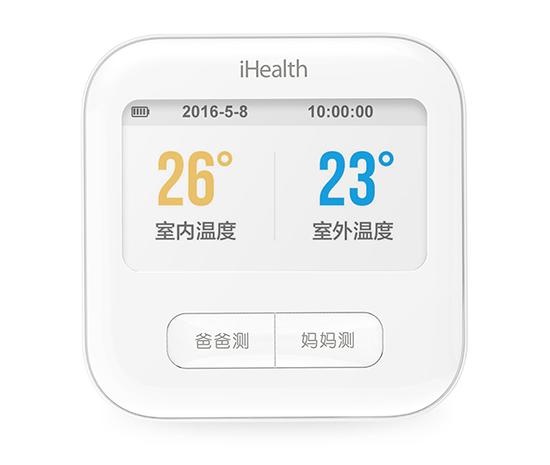 电子钟使用 不测量血压时,米家 ihealth 血压计还能当室内外温度计
